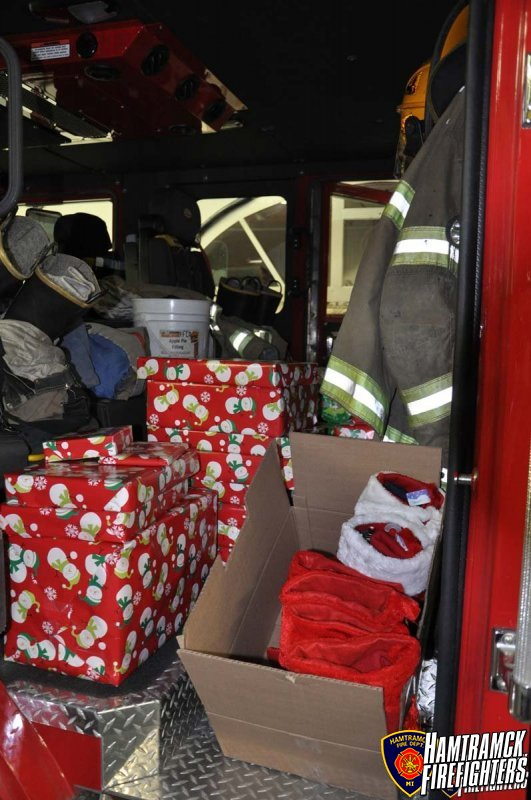 """The Hamtramck Firefighters """"adopted"""" two families this holiday season. We provided presents, food and clothing to help these families have a happy holiday."""