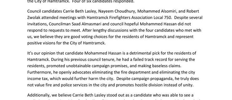 Hamtramck Firefighters Association Local 750 Hamtramck Election